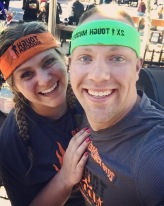 Wes and I taking on the Tough Mudder - Selfie with both of us wearing our Tough Mudder headbands.