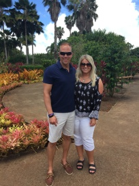 Wes and Nicole standing in the garden of the Dole Plantation in Oahu, Hawaii.