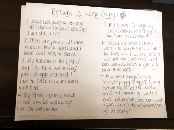 List of reasons to keep going as written by Nicole