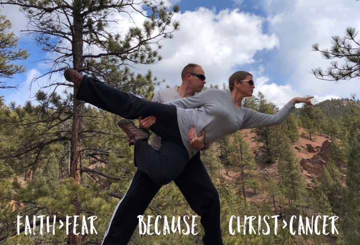 "Wes holding Nicole up in a ballerina position with caption ""faith>fear because Christ>cancer"""