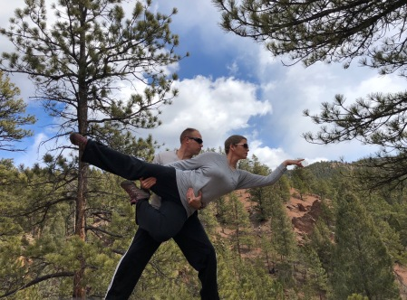Wes picking me up in a ballet pose in the mountains