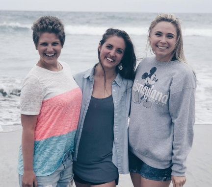 (Picture left to right) Nicole, Sabrina, and Maddie standing on the beach in Carlsbad attending Still Waters Cancer Retreat.