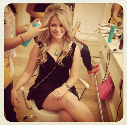 Nicole Getting her hair done and smiling with big poofy blonde hair