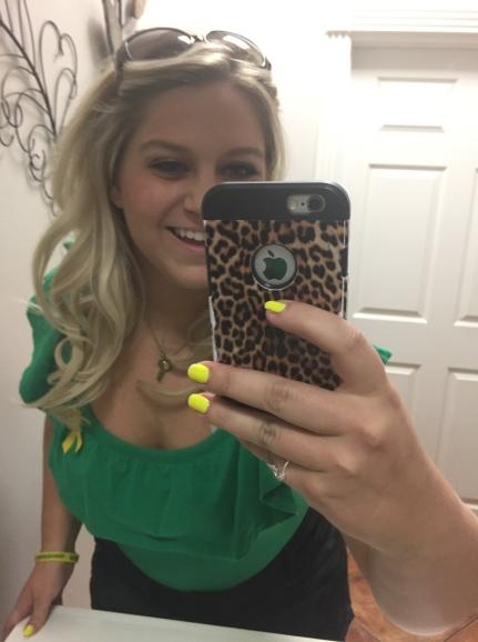 The last photo Nicole took before shaving her head - Bathroom selfie