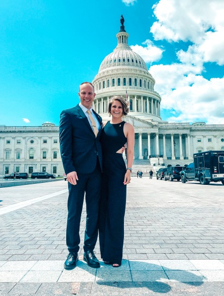 Wes and Nicole standing in front of the US Capitol Lobbying for One Voice Against Cancer