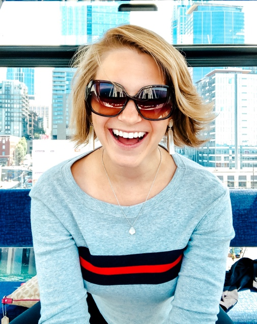 Picture of Nicole on the Great Wheel of Seattle in Seattle, Washington.