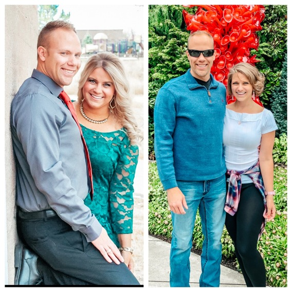 Wes and Nicole's weight loss transformation photo before and after side by side.