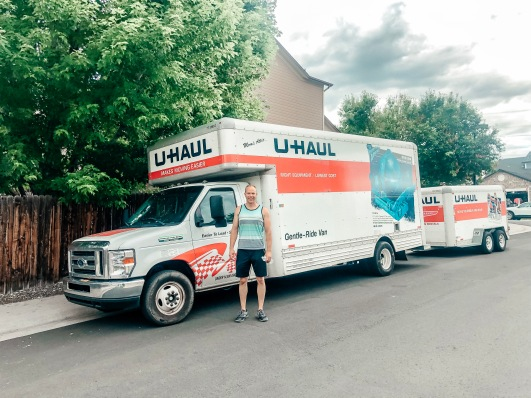 Wes in front of the UHaul before we make our drive down to Texas for the move