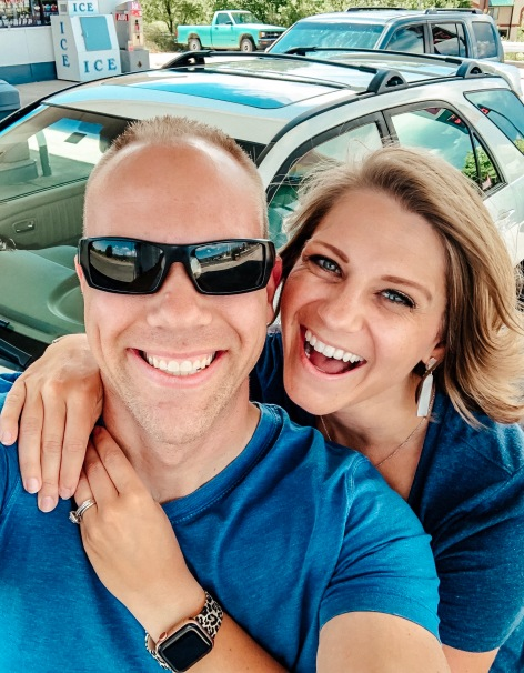 Wes and Nicole stopped at a gas station to grab a quick picture on their move to Texas