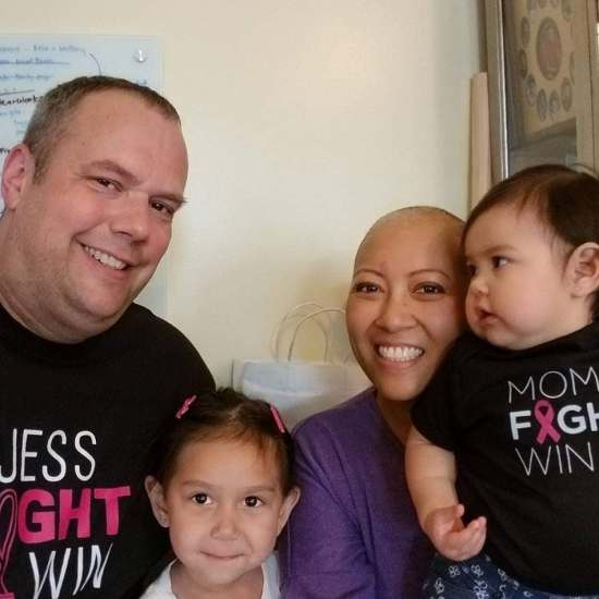 Jessica Shrewsbury and Family During Cancer Treatment